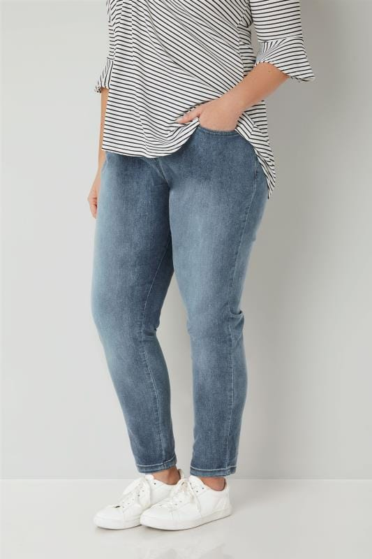 Plus Size Boyfriend Jeans Blue Washed Slouch Boyfriend BROOKLYN Jeans