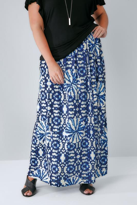 Blue & White Circle Tie Dye Print Jersey Maxi Skirt