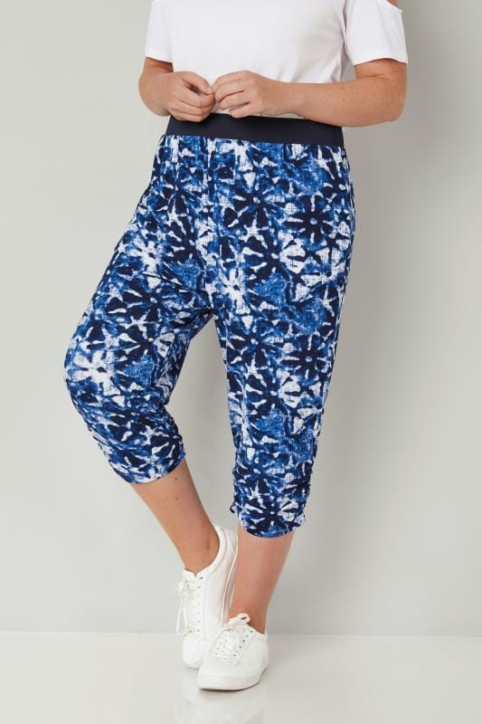 Plus Size Cropped Trousers Blue & White Cropped Harem Trousers