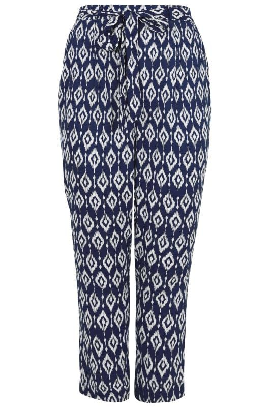 Blue Amp White Diamond Print Tapered Leg Trousers Plus Size