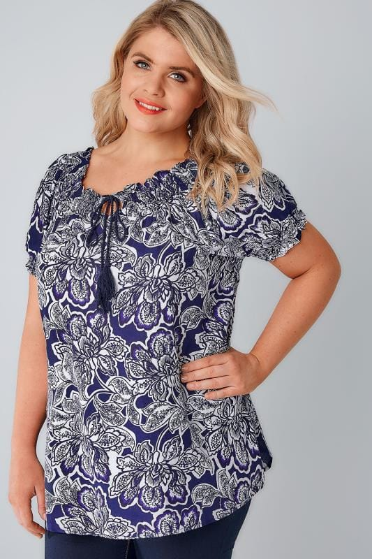 Blue & White Floral Pattern Gypsy Top With Sequin Detail