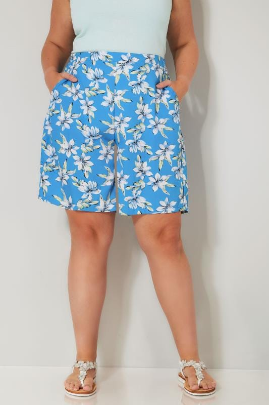 Blue & White Floral Print Woven Shorts