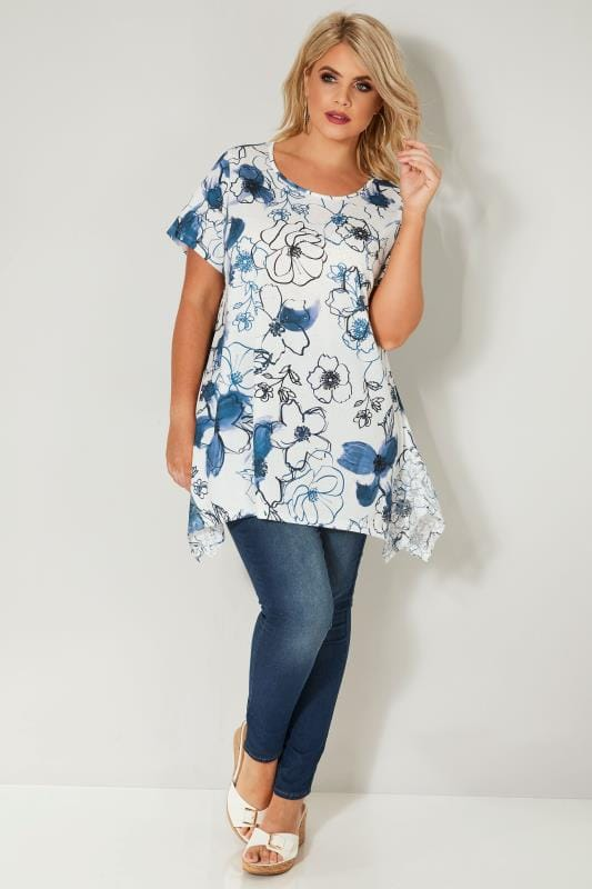 Blue & White Floral Print Lace Hanky Hem Top With Diamante Embellishments