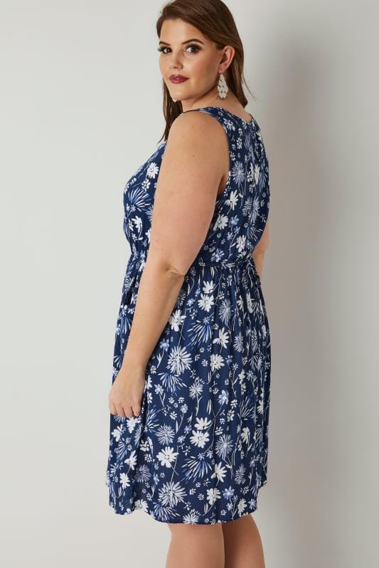 Blue & White Floral Print Pocket Dress With Elasticated Waistband