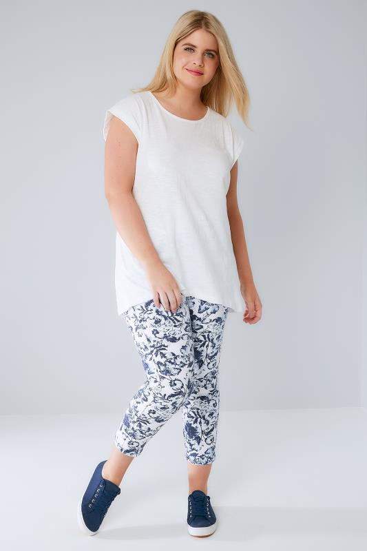 Blue & White Floral Print Pull On Cropped JENNY Jeggings