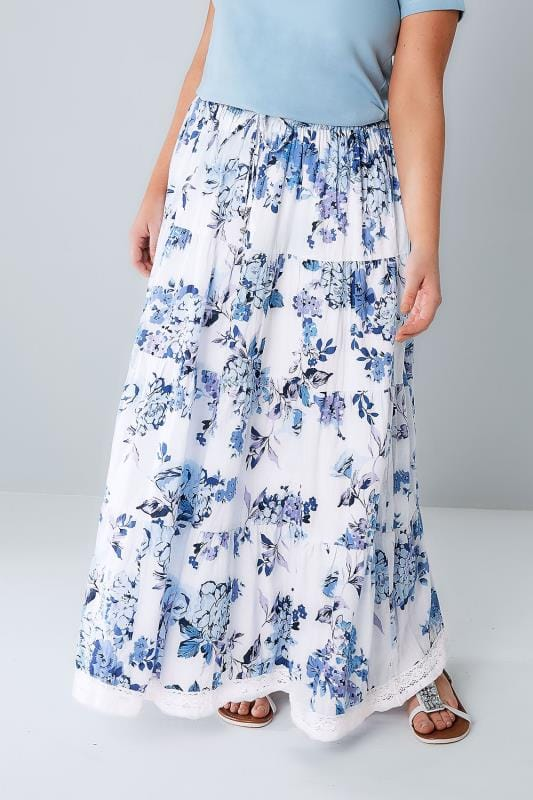 Plus Size Maxi Skirts Blue & White Floral Print Tiered Maxi Skirt With Lace Trim Hem