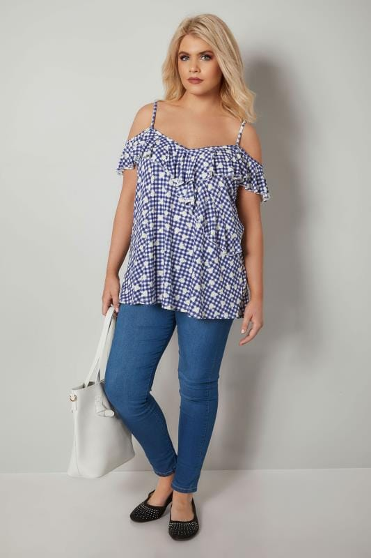 Blue & White Gingham & Daisy Print Frill Cold Shoulder Top