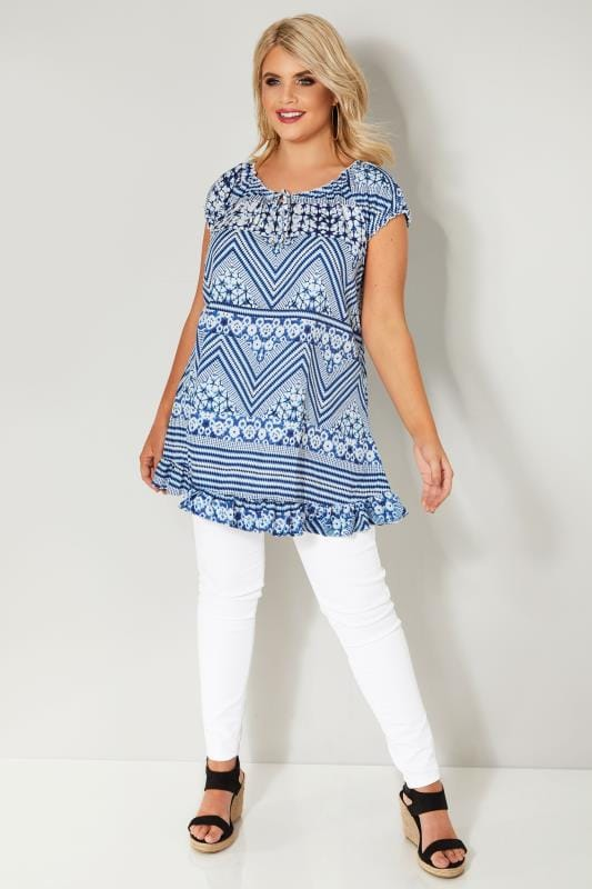 Blue & White Gypsy Top With Frill Hem & Tie Neck