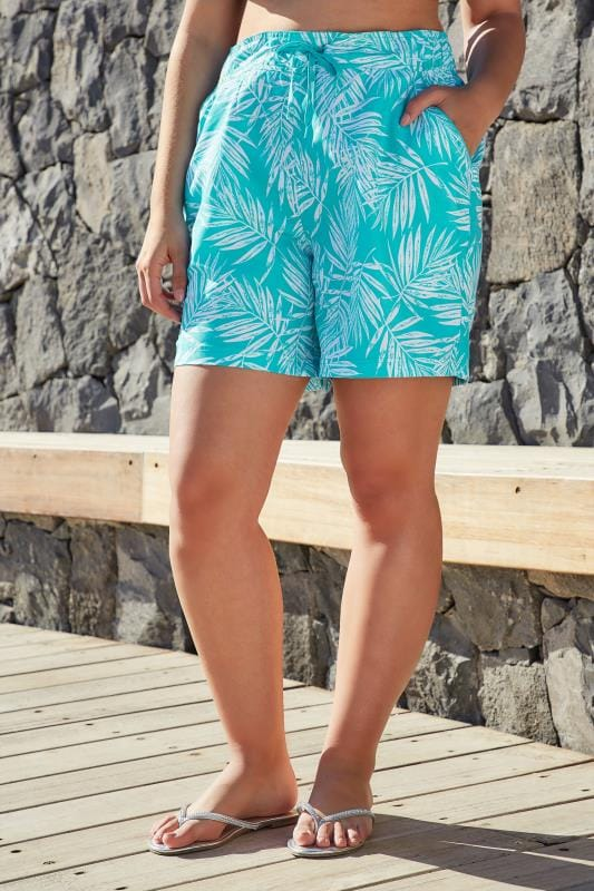 Blue & White Leaf Print Swim Shorts