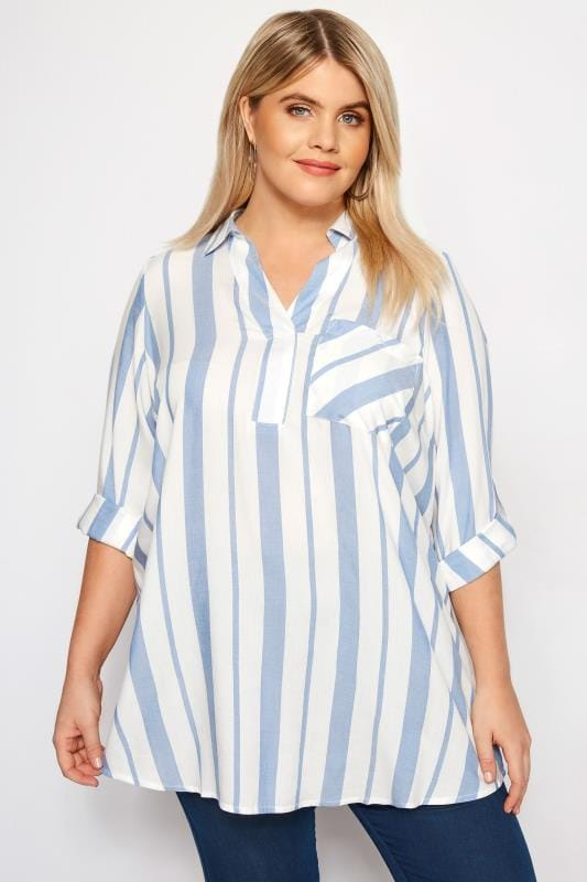 Plus Size Shirts Blue & White Oversized Striped Shirt