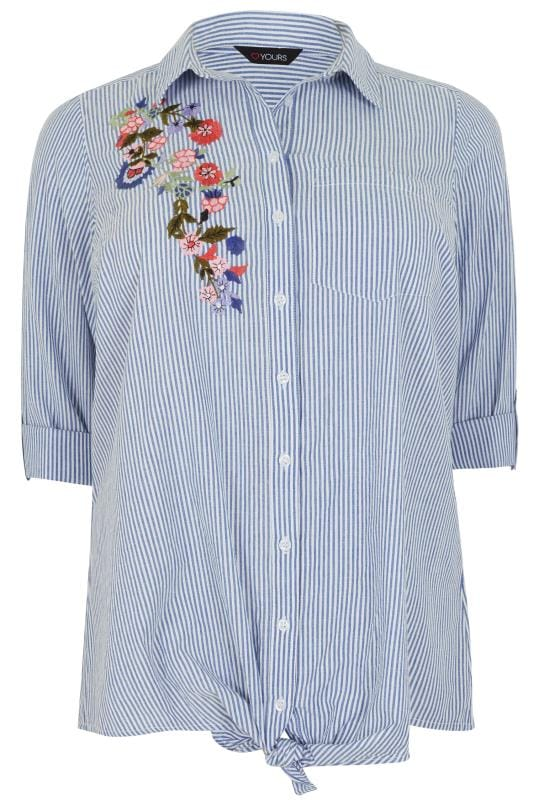 Blue & White Pinstripe Shirt With Floral Embroidered Patch ...