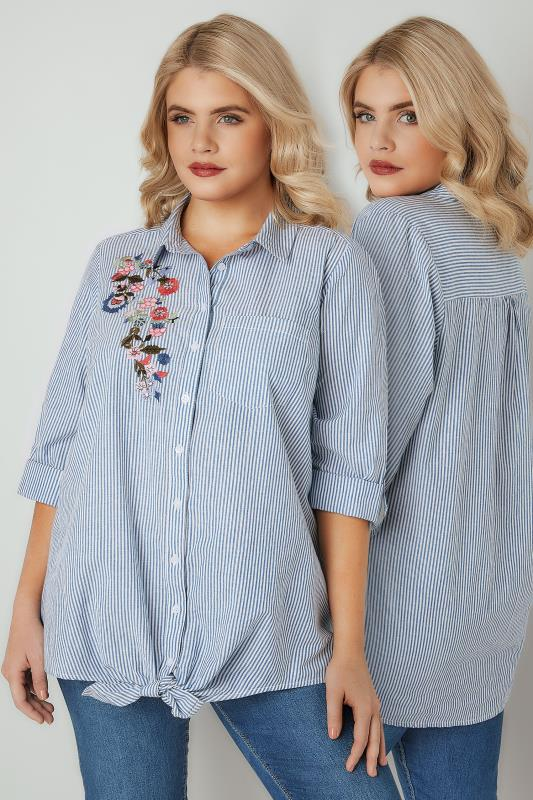 Plus Size Shirts Blue & White Pinstripe Shirt With Floral Embroidered Patch