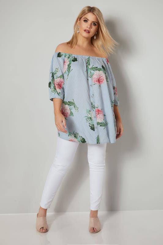 Blue & White Stripe Bardot Top With Floral Print