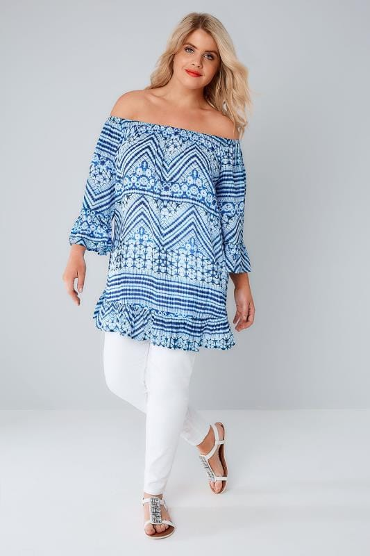 Blue & White Tie Dye Crinkle Top With Flared Hem & Cuffs