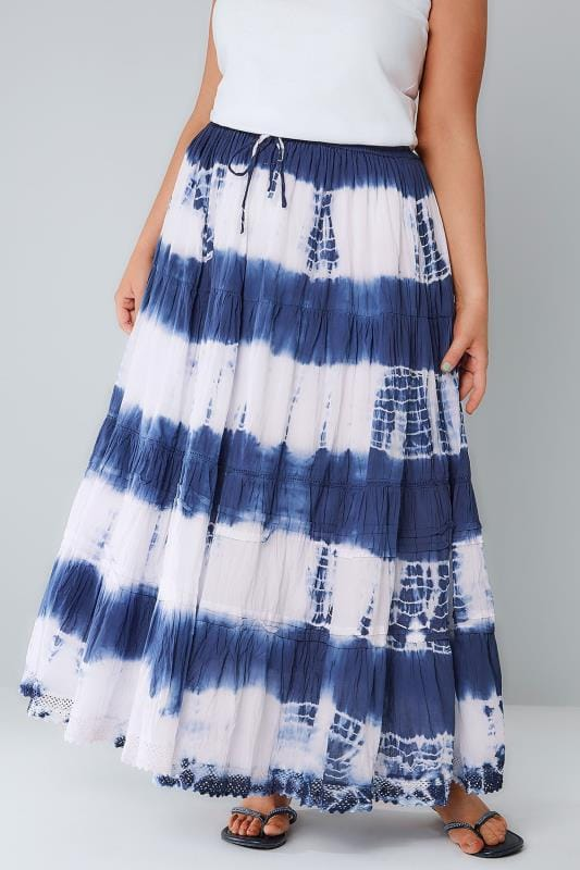 Longues Blue & White Tie Dye Tiered Crinkle Maxi Skirt 160009