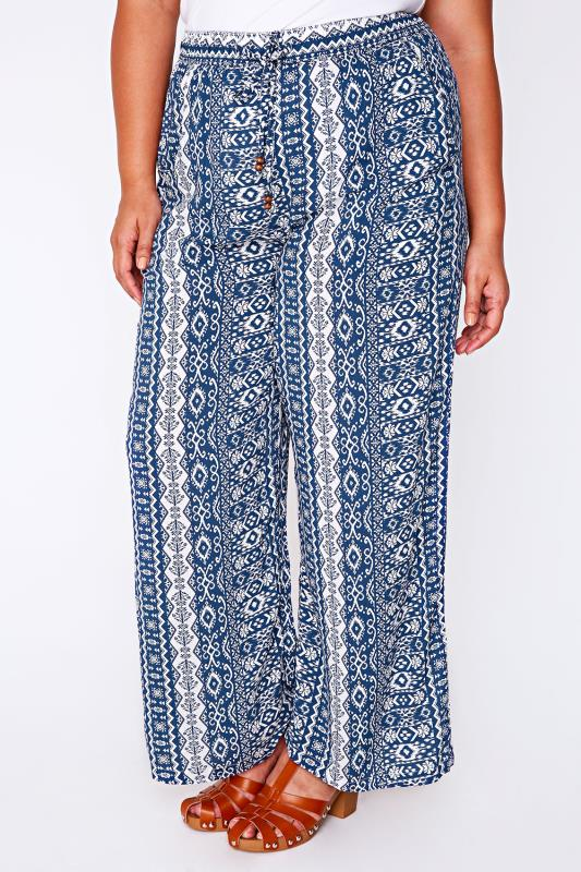 Blue & White Tile Aztec Print Wide Leg Trousers