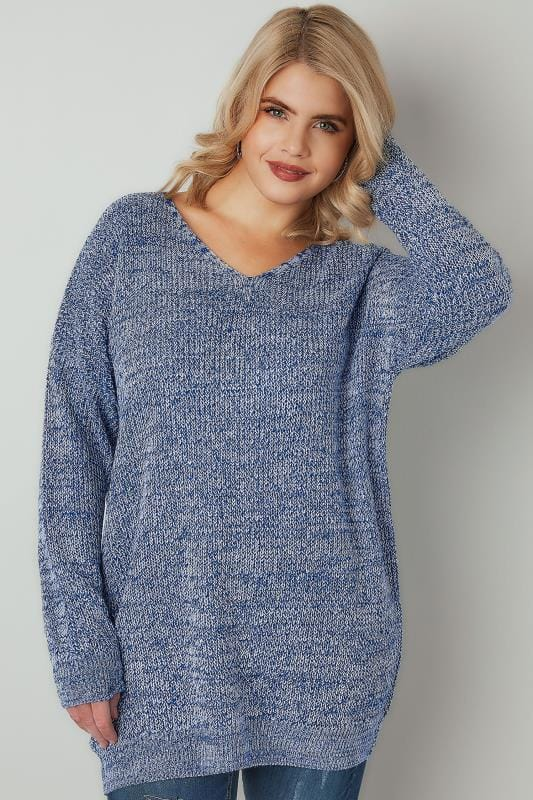 Blue & White Yarn Jumper With Cross Over Back