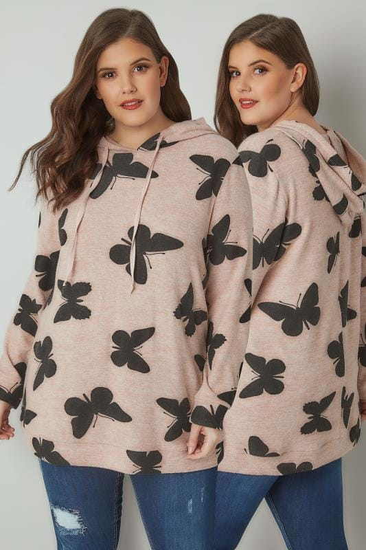 Plus Size Hoodies & Jackets Blush Pink Butterfly Print Soft Touch Hooded Jumper