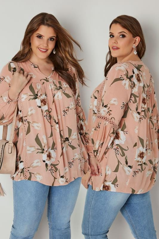 Plus Size Blouses & Shirts Blush Pink Floral Smock Blouse With Lace Ladder Detail