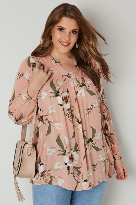 Blush Pink Floral Smock Blouse With Lace Ladder Detail