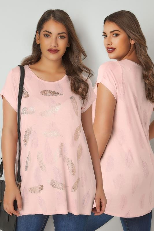 Plus Size Jersey Tops Blush Pink Foil Feather Print T-Shirt