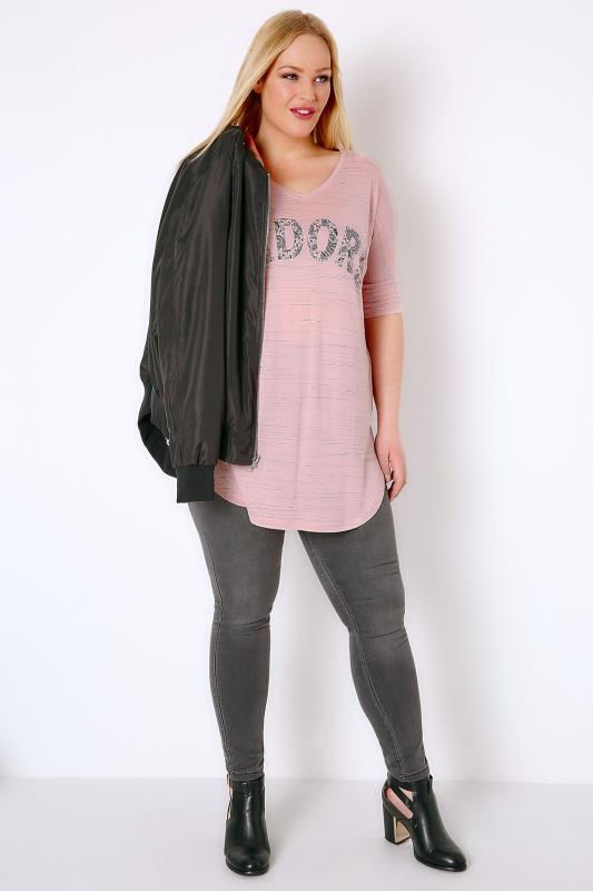 Blush Pink 'J'adore' Paisley Print Top With V-Neck