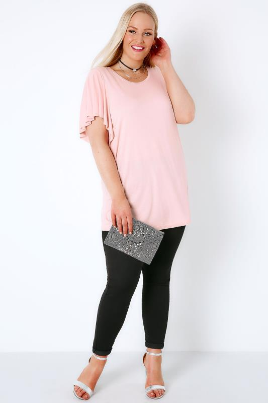 Blush Pink Jersey Top With Angel Sleeves