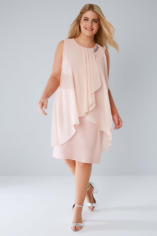 Blush Pink Layered Front Dress With Detachable Diamante Trim
