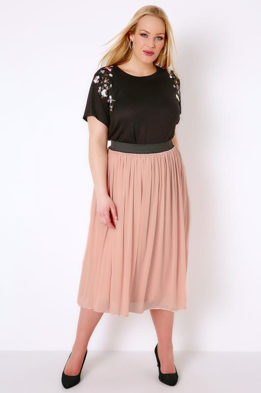 Skater Skirts Blush Pink Mesh Tulle Skirt With Elasticated Waist Band 156112