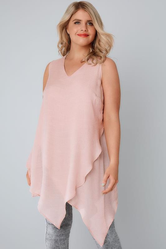 Blush Sleeveless Top With Layered Front