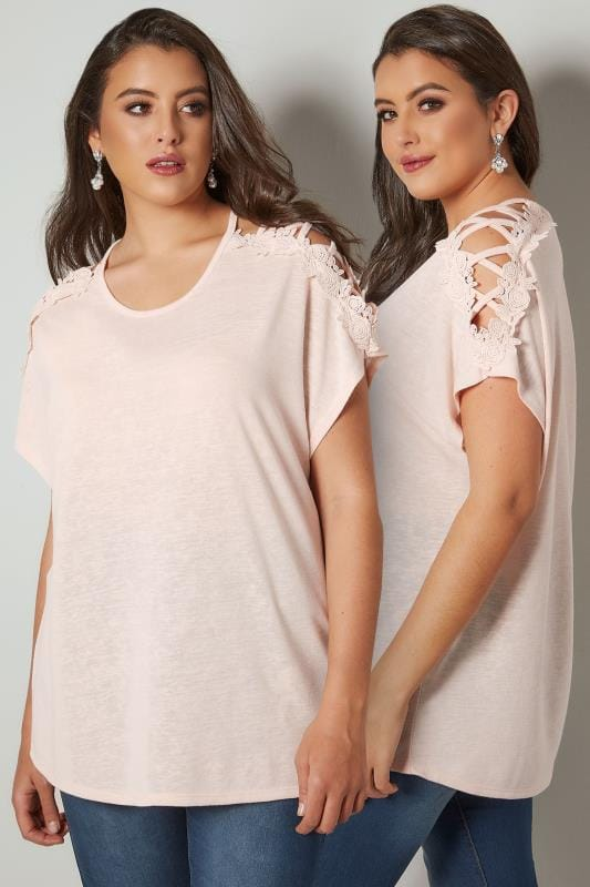 Blush Pink Oversized Top With Floral Lace Detailing & Lace Sleeves