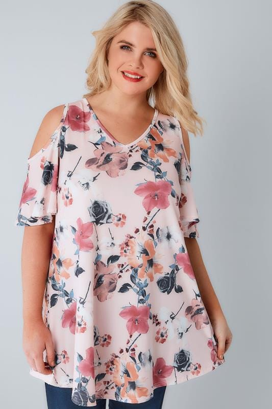 Blush Pink Rose Print Slinky Cold Shoulder Top
