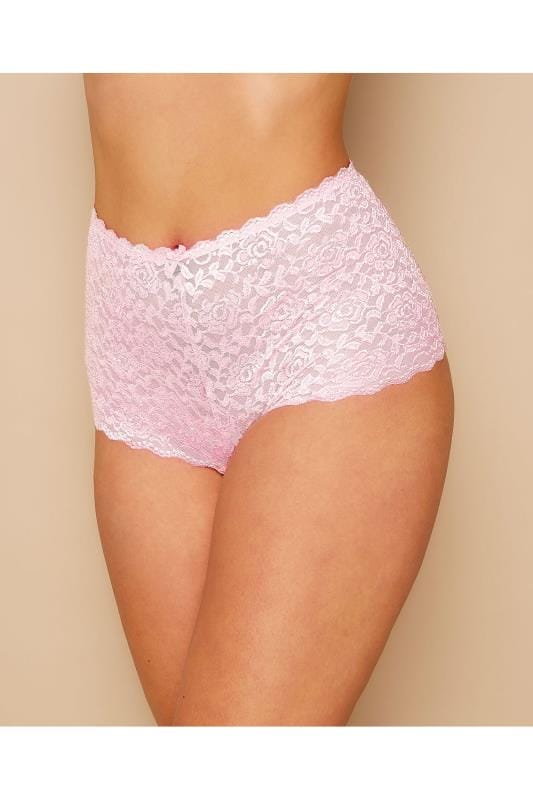 Plus Size Briefs & Knickers Blush Pink Shine Lace Shorts