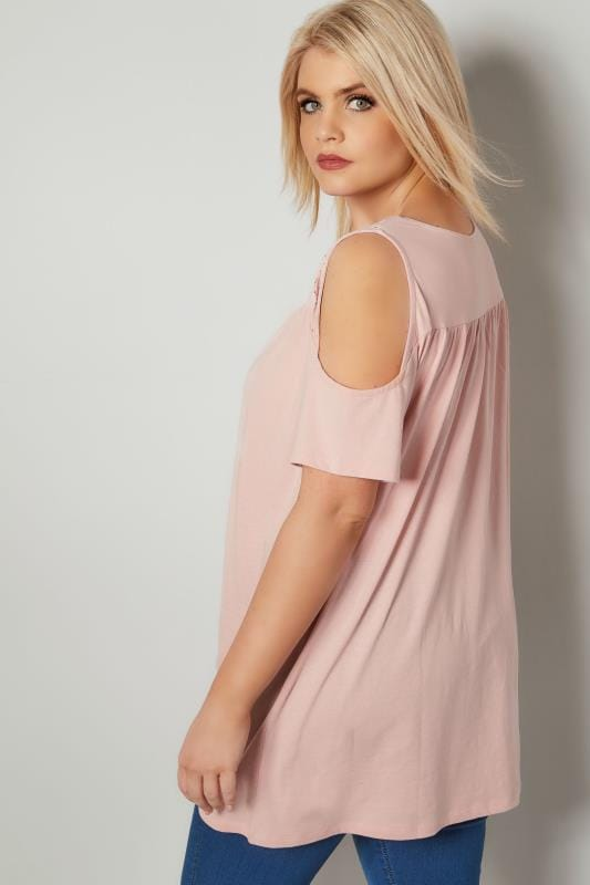 Blush Pink Shoulder Lace Yoke Top