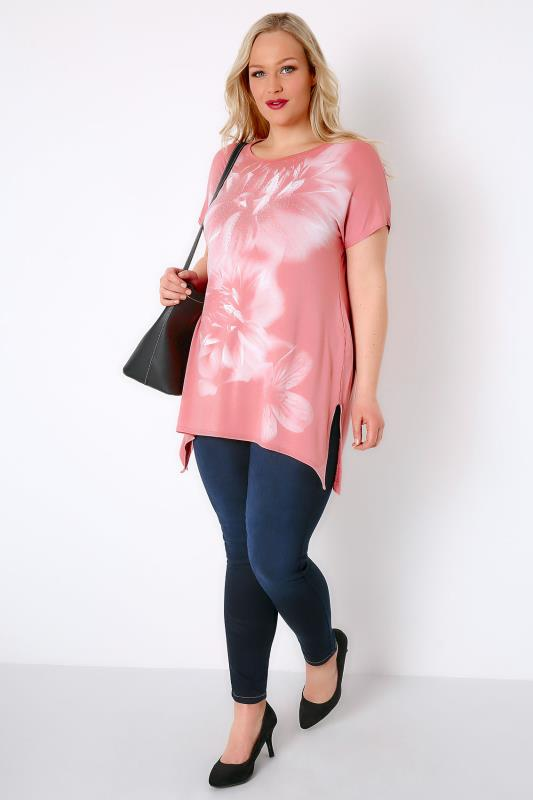 Blush Pink Smoky Floral Print Stud Embellished Top With Hanky Hem