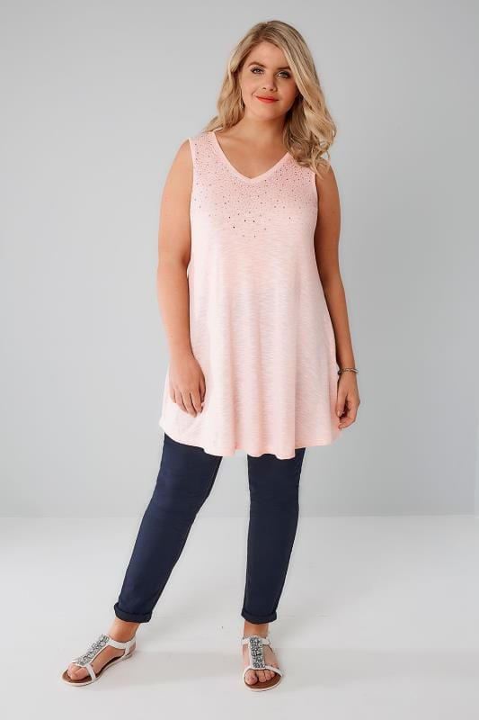 Blush Pink Stud Embellished Fine Knit Sleeveless Swing Top