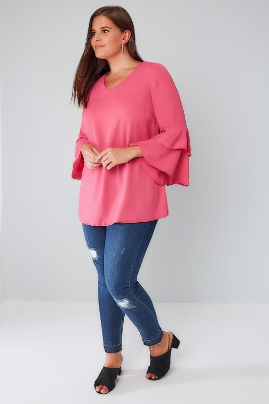 Blush Pink Top With Double Frill Sleeves
