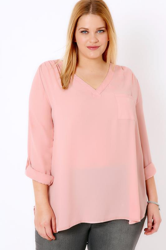 Pastel Pink Pink V-Neck Blouse With Roll Up Sleeves & Pocket Detail