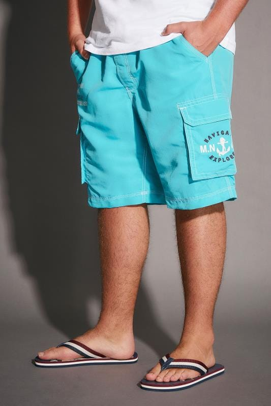 Bright Blue Cargo Swim Shorts With Crossover Waist Tie