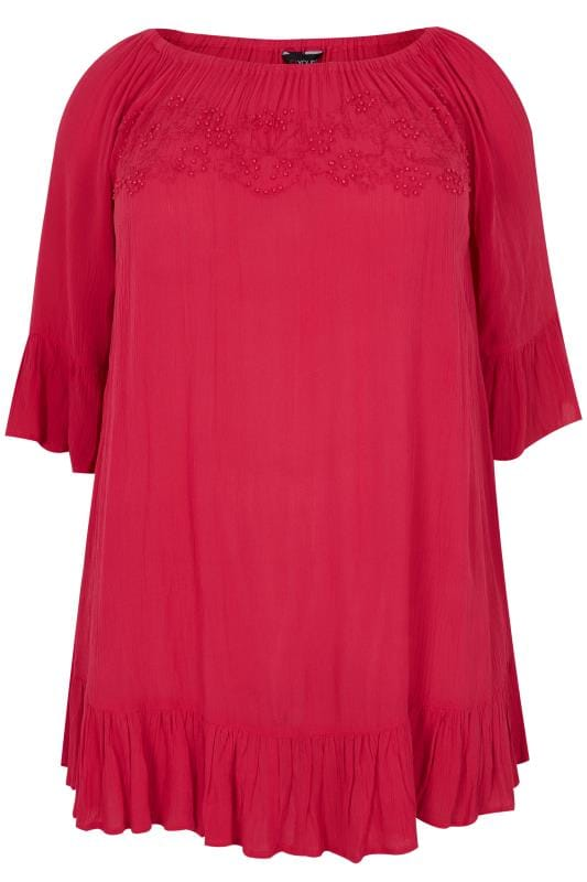 Bardot und Cold-Shoulder-Top Bright Pink Bardot Gypsy Top With Beaded Details & Flute Sleeves 130235