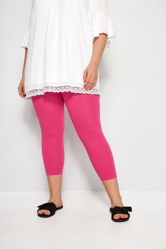 18e8bdea43b3a Plus Size Cropped & Short Leggings Bright Pink Cropped Leggings