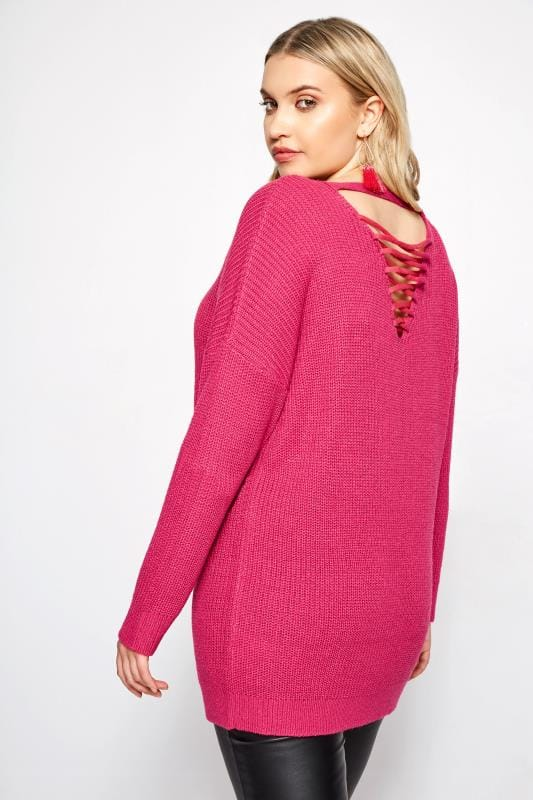 Plus Size Sweaters Bright Pink Lattice Back Knitted Jumper
