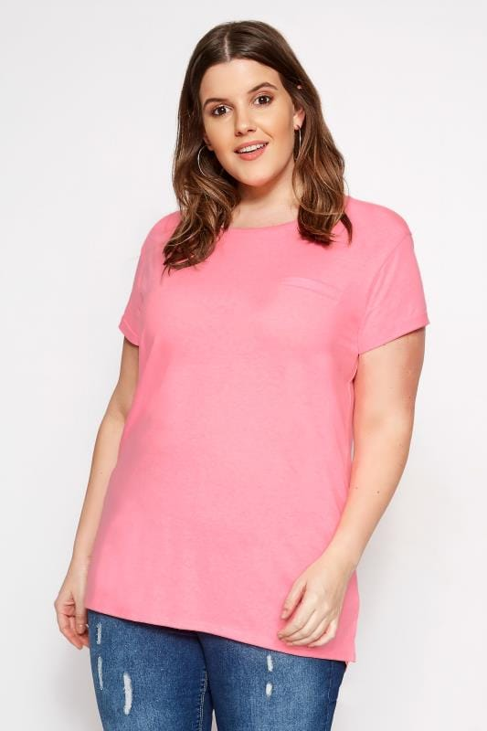 Bright Pink Mock Pocket T-Shirt