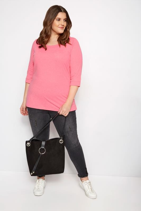 Bright Pink Seamed Scoop Neck Top