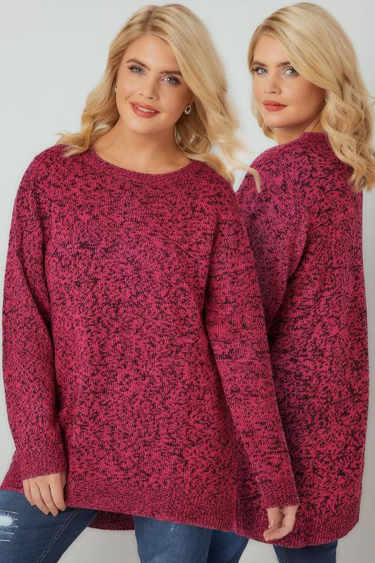 Jumpers Bright Pink Textured Jumper With Dipped Hem 124109