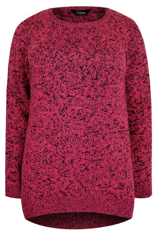 Bright Pink Textured Jumper With Dipped Hem