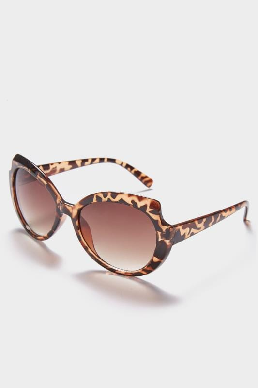 Brown Animal Print Rounded Sunglasses With UV 400 Protection