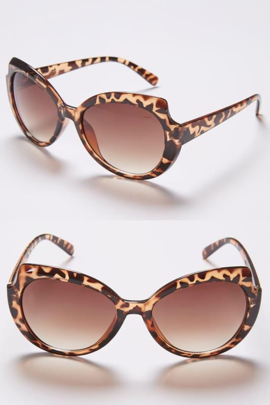 Plus Size Sunglasses Brown Animal Print Rounded Sunglasses With UV 400 Protection