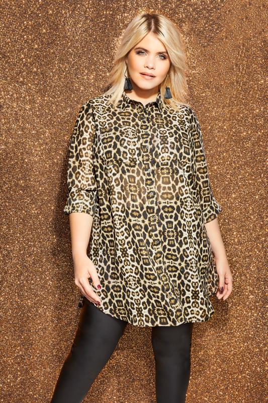 Plus Size Shirts Brown Animal Print Shirt