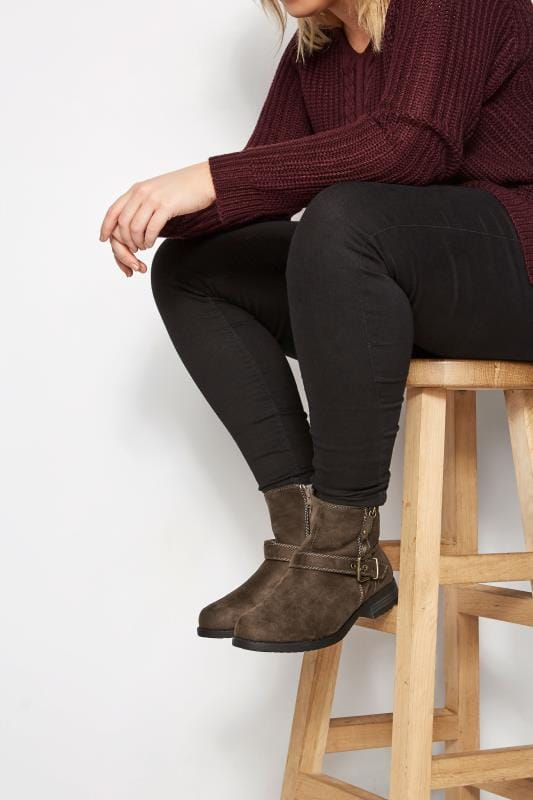 Wide Fit Ankle Boots Brown Buckled Ankle Boots In EEE Fit